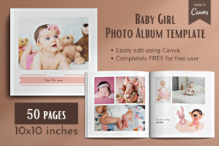Print on Demand: Baby Girl Photo Album Layouts in Canva Graphic Presentation Templates By des.onthespot