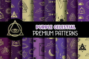 Print on Demand: Purple Celestial Magical Digital Papers Graphic Patterns By Grafixeo