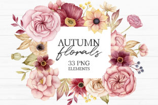 Watercolor Autumn Floral Clipart Graphic Illustrations By SipkaDesigns