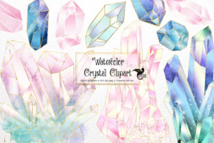 Print on Demand: Watercolor Crystals Clipart Graphic Illustrations By Digital Curio