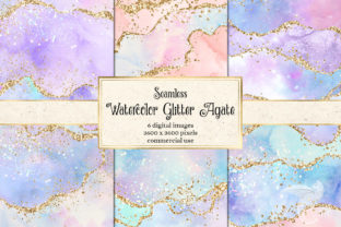 Print on Demand: Watercolor Glitter Agate Textures Graphic Textures By Digital Curio