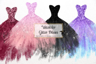 Print on Demand: Watercolor Glitter Dress Clipart Graphic Illustrations By Digital Curio