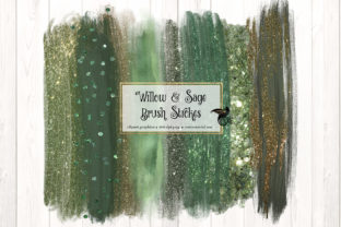 Willow and Sage Brush Strokes Clipart - 1