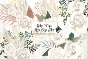 Print on Demand: Boho White Rose Clipart Graphic Illustrations By Digital Curio 1