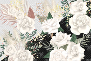 Print on Demand: Boho White Rose Clipart Graphic Illustrations By Digital Curio 2