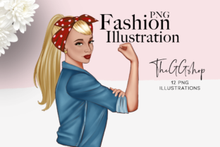 Print on Demand: Pink October Girl Cliparts Graphic Illustrations By TheGGShop