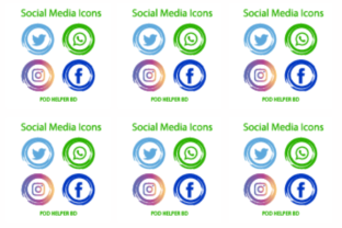 Social Media Logos and Icons Set Graphic Web Templates By POD Helper BD