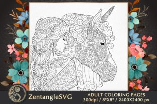Unicorn Princess Adult Coloring Page Graphic Coloring Pages & Books Adults By ZentangleSVG