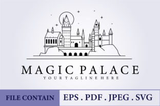 Print on Demand: Line Classic Hogwarts Castle Logo Vector Graphic Logos By Lodzrov