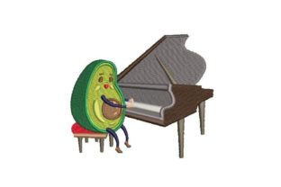Avocado Pianist Music Embroidery Design By Embroidery Designs