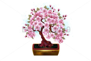 Bonsai Pink Japanese Cherry Graphic Illustrations By Blackmoon9