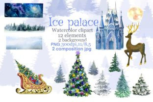 Print on Demand: Christmas Clipart Ice Palace Watercolor Graphic Illustrations By Marine Universe