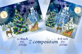 Print on Demand: Christmas Clipart Ice Palace Watercolor Graphic Illustrations By Marine Universe 2