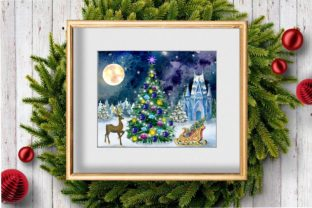 Print on Demand: Christmas Clipart Ice Palace Watercolor Graphic Illustrations By Marine Universe 3