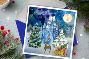 Print on Demand: Christmas Clipart Ice Palace Watercolor Graphic Illustrations By Marine Universe 4