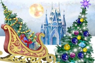 Print on Demand: Christmas Clipart Ice Palace Watercolor Graphic Illustrations By Marine Universe 5