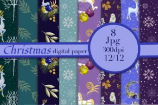 Print on Demand: Christmas Digital Paper Pack. Xmas Backg Graphic Patterns By Marine Universe