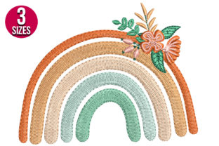 Print on Demand: Fall Rainbow with Flowers Autumn Embroidery Design By Nations Embroidery