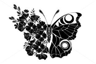 Flower Butterfly with Black Flowers Graphic Illustrations By Blackmoon9