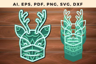 Print on Demand: Layer Christmas Reindeer Paper Cut Svg Graphic 3D SVG By NGISED