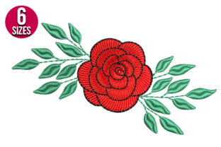 Print on Demand: Rose Flower Single Flowers & Plants Embroidery Design By nationsembroidery