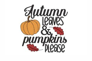 Autumn Leaves and Pumpkins Autumn Embroidery Design By NinoEmbroidery