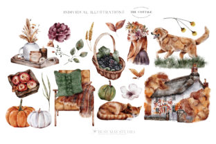 Autumn Watercolor Collection Gold  PNG - 3