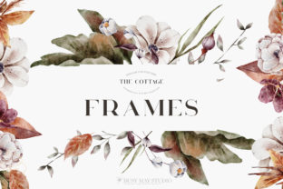 Print on Demand: Autumn Watercolor Floral Leaves Frames Graphic Illustrations By Busy May Studio