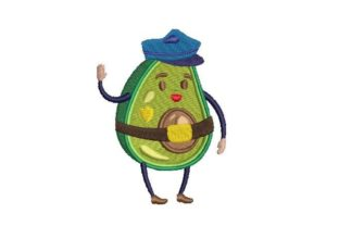 Avocado Police Officer Work & Occupation Embroidery Design By Embroidery Designs