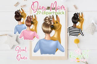 Dog Mom PNG. Great Dane Mom. Graphic Illustrations By CosyArtStore by RivusDea