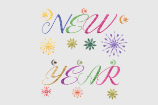 Print on Demand: New Year Colorful Star Holidays & Celebrations Embroidery Design By setiyadissi 2
