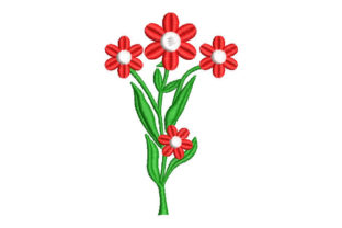 Plant with Red Flowers Körbe Stickdesign von Embroiderypacks