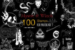 Procreate Mystic Witch Stamp Tattoo Dark Graphic Brushes By ArtPrintBabe
