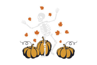Skeleton Dancing with Pumpkins Halloween Craft Cut File By Creative Fabrica Crafts