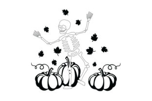 Skeleton Dancing with Pumpkins Halloween Craft Cut File By Creative Fabrica Crafts 2