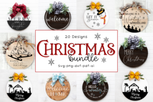 Christmas Round Wood Sign Bundle Graphic Crafts By Rumi Designed