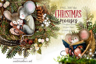 Print on Demand: Christmas Mouse Watercolor Cliparts PNG Graphic Illustrations By CherrypearStudio