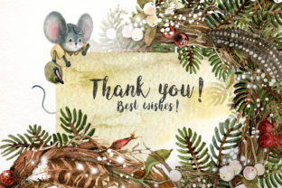 Print on Demand: Christmas Mouse Watercolor Cliparts PNG Graphic Illustrations By CherrypearStudio 10