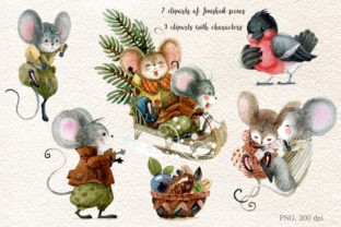 Christmas Mouse Watercolor Cliparts PNG - 2