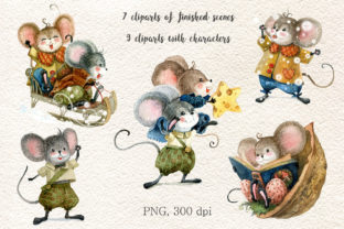 Christmas Mouse Watercolor Cliparts PNG - 3