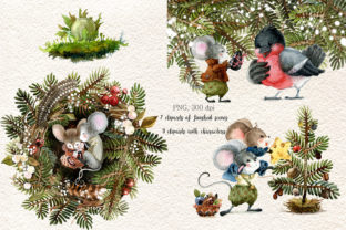 Christmas Mouse Watercolor Cliparts PNG - 4