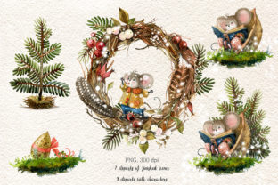 Print on Demand: Christmas Mouse Watercolor Cliparts PNG Graphic Illustrations By CherrypearStudio 5