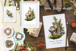 Print on Demand: Christmas Mouse Watercolor Cliparts PNG Graphic Illustrations By CherrypearStudio 8
