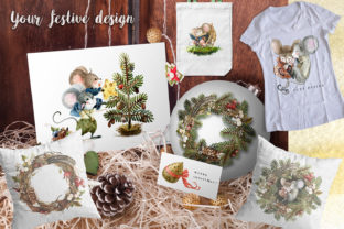 Print on Demand: Christmas Mouse Watercolor Cliparts PNG Graphic Illustrations By CherrypearStudio 9