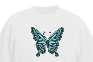 Print on Demand: Decorative Blue and Black Butterfly Bugs & Insects Embroidery Design By The American Seamstress