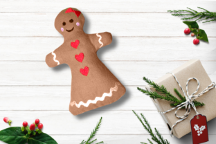 Gingerbread Girl Plush ITH Christmas Embroidery Design By DesignedByGeeks