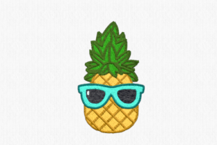 Pineapple with Sunglasses Food & Dining Embroidery Design By Scrappy Remnants