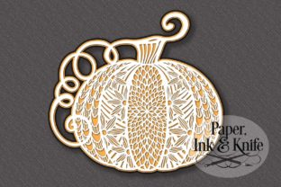 Pumpkin 3 Layer Fall Papercut Template Graphic 3D SVG By Paper Ink And Knife