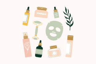 Print on Demand: Skincare Routine Products Sheet Mask Oil Graphic Illustrations By Musbila