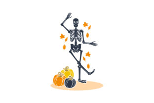 Skeleton Dancing with Leaves and Pumpkins Halloween Craft Cut File By Creative Fabrica Crafts